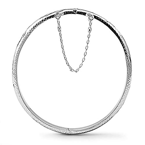 5MM Wide Oval Engraved/Etched Bangle Bracelet for Women/Teenager/Girls With Safety Chain - 925 Sterling Silver - Diameter: 60mm