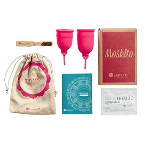 Deluxe Menstruationstassen MOSKITO im 2er-Set, Menstruationskappen aus 100% Silikon, umweltschonende Tampon-Alternative inkl. Natur Reinigungsbürste & Aufbewahrungsbeutel, pink, von Venize
