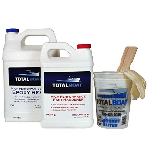 TotalBoat High Performance Epoxy Kit, Crystal Clear Marine Grade Resin and Hardener for Woodworking, Fiberglass and Wood Boat Building and Repair (Gallon, Fast)