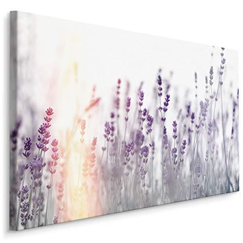 Muralo Wandbilder Blumen 30 x 20cm Bild auf Leinwand Wandbild Kunstdruck Lavendel Leinwandbilder Schlafzimmer Wohnzimmer Wanddekoration Design Wand Bild Natur Landschaft
