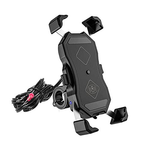 Soporte multifuncional para teléfono móvil para motocicleta, ciclismo, 15 W, carga inalámbrica USB, 2 en 1, aleación de aluminio, soporte de navegación, para teléfono móvil de 6,5 pulgadas y inferior