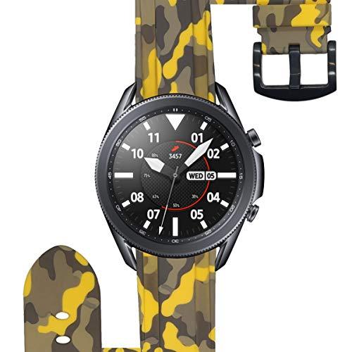 ESTUYOYA - Pulsera de Silicona Compatible con Samsung Galaxy Watch 3 45mm / Gear S3 Frontier/Classic/Camuflaje del Ejercito Tacto Suave Estilo Militar Correa 22mm - Amarillo