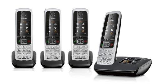 Gigaset C430A / C 430A / C430 A Quattro schwarz mit Anrufbeantworter mit insgesamt 4 Mobilteilen