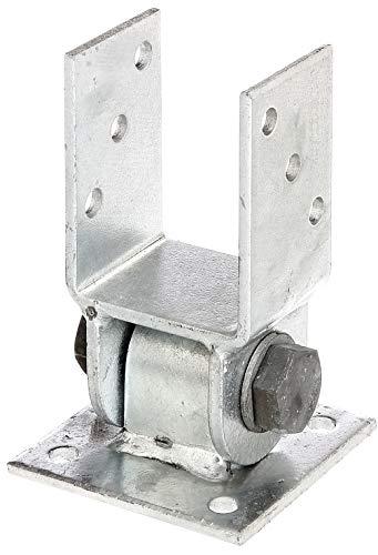 GAH-Alberts 208707 Pfostenträger mit beweglichem Oberteil | zum Aufschrauben | feuerverzinkt | lichte Breite 71 mm