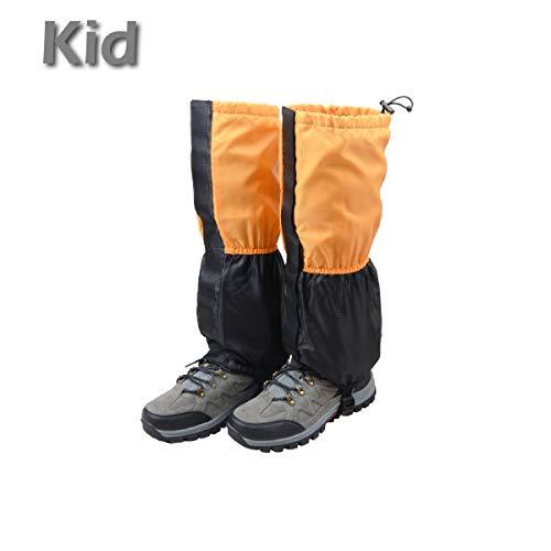 TRIWONDER Polainas Impermeable de Senderismo para piernas a Prueba de Viento Nieve Lluvia para Montaña Caza Esquí Escalada (1 Par) (Naranja y Negro - Niño)