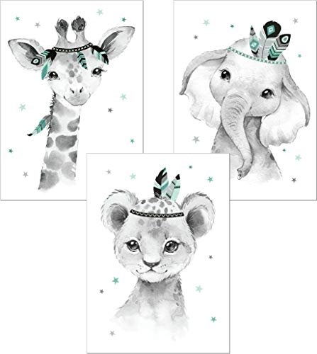 LALELU-Prints | A4 Bilder Kinderzimmer Poster | Zauberhafte Indianer-Tiere Boho Feder mint | Babyzimmer Deko Junge Mädchen | 3er Set Kinderbilder (DIN A4 ohne Rahmen)