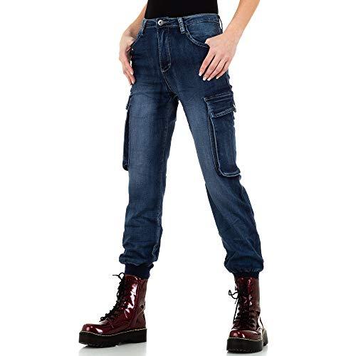 Ital-Design Used Look Cargo Jeans Place du Jour Gr. 34 Blau