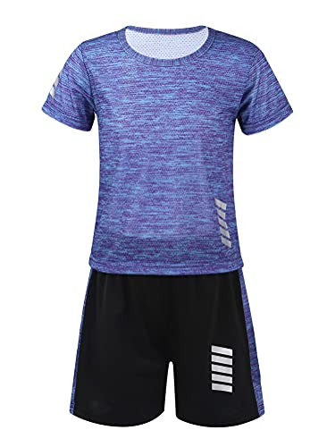 Alvivi Conjuntos Deportivos Niña Camiseta Manga Corta+Pantalónes Cortos Chándal Seca Rapido de Baloncesto Ropa Deportiva Niño Unisex Azul 9-10 años