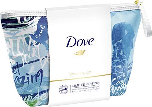 Dove Geschenkset mit elegantem Washbag Limited Edition (Duschpeeling Macadamia 225ml + Duschgel Pflege & Öl 250ml + Washbag) 1er Pack