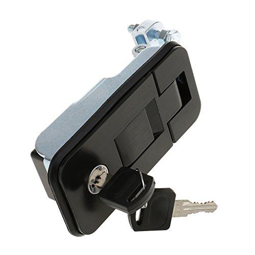 Shiwaki Türschloss Druckverschlussriegel mit2 x Schlüsseln, für Wohnmobil Anhänger - Schwarz