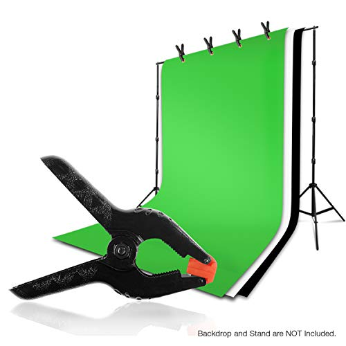 LimoStudio 6 PCS Black Nylon Muslin/Paper Photo Backdrop Background Clamps, 3.75 inch with Camera Adapter Clamps, AGG1242