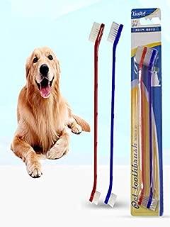 JPJ(TM) New❤️Dog Toothpaste❤️2Pcs Hot Creative Dog Toothpaste Toothbrush Set for Healthy Natural Dental Hygiene (Blue Red)