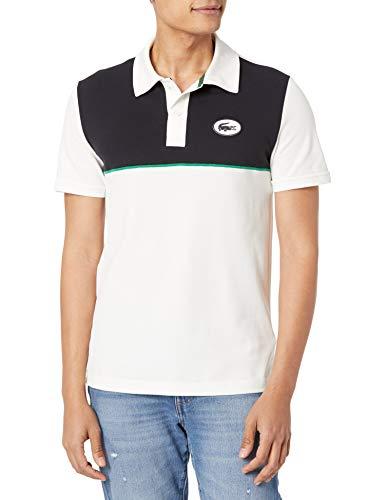 Lacoste Camisa polo masculina de manga curta com estampa de blocos de cores, Farinha e Abismo, XG