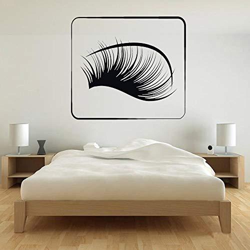 Apliques de pestañas Vinilo Apliques de Pared Etiqueta de Ventana salón de Belleza Mujer Cara Accesorios de decoración del hogar Sala de Estar Mural Negro 30x33cm