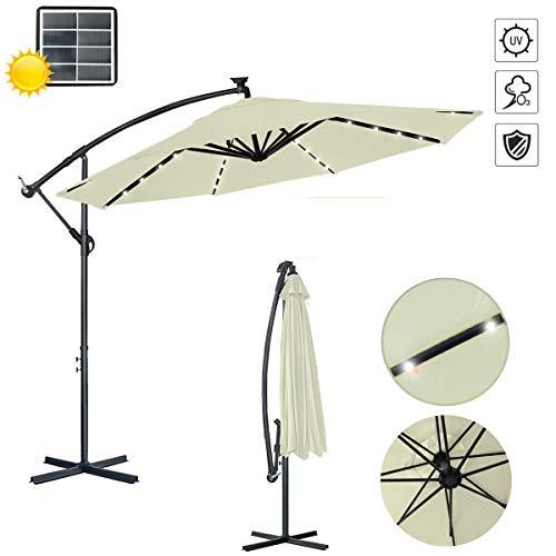 Aufun Alu Sonnenschirme 300cm mit kurbel UV Schutz 40+ - Beige balkonschirm gartenschirm höhenverstellbarer (Beige)