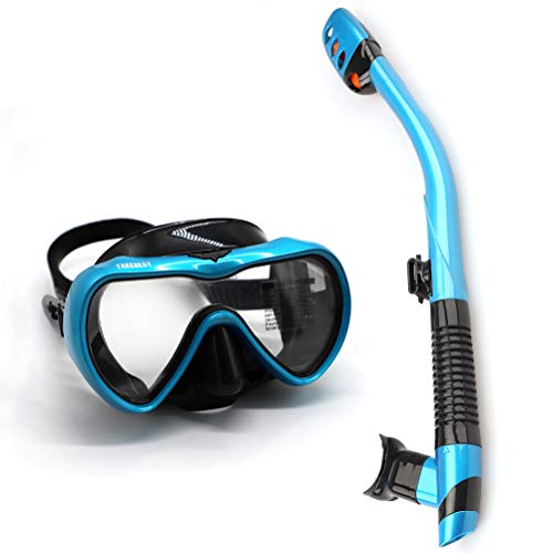 TAKEBEST Snorkel Set, Anti-Fog Snorkel Diving Mask Panoramic Wide View Tempered Glass, Easy Breathing Anti-Leak Dry Top Snorkel, Professional Snorkeling Set for Adult Youth (Light Blue+Black)