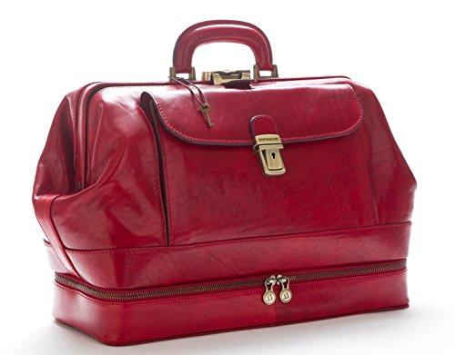 D&D - Doctor's Bag Borsa Medico stile classico con vano Portastrumenti - Made in Italy (Rosso)