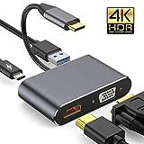 Braveking1 HUB USB C, 4 en 1 Tipo C Adaptador con Type-C 87W Rápido Power Delivery, 4K HDMI, VGA, USB 3.0 para MacBook Pro 13' y 15' 2019/2018/2017/2016, DELL XPS