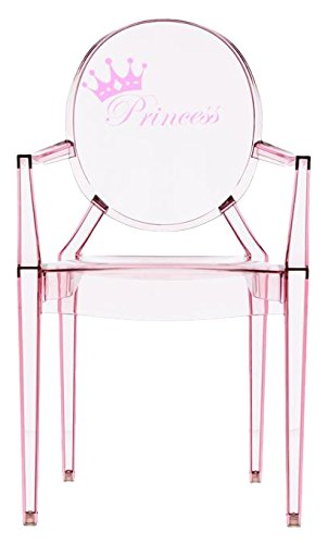 Kartell Lou Ghost Chaise, Rose, 2.7 x 37 x 63 cm