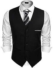 COOFANDY ジレ ベスト メンズ ビジネス フォーマル スーツ ベスト 2ポケット 5ボダン Vネック 紳士 尾錠付き 上質 スリム フィット