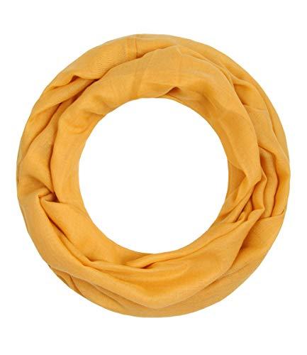 Majea Loop Alice schmaler Damen-Schal Loop Frühlingsschal Schlauchschal Rundschal Tuch uni unisex unifarben einfarbig Halstuch (senf-gelb)