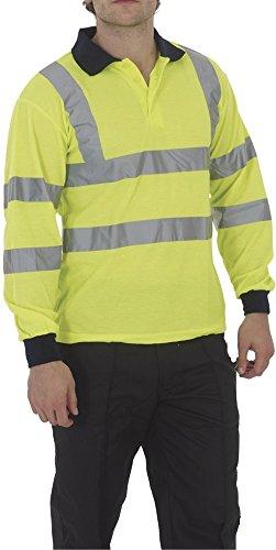 YOKO haute visibilité à manches longues Polo pour homme Workwear Homme réfléchissant travailler sur le dessus - -