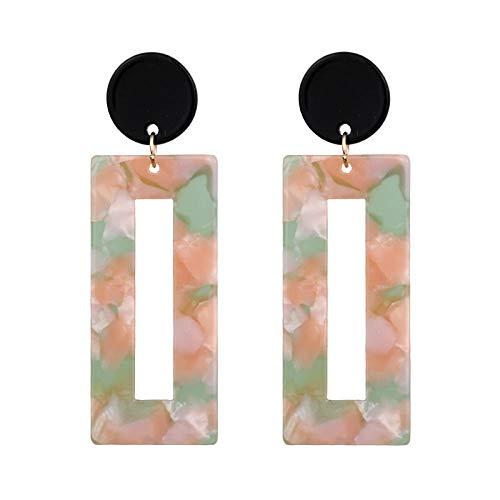 Pendientes de moda gran marca acetato estampado de leopardo placa acrílica resina geométrica rosa