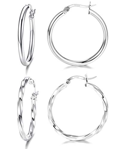 Milacolato 2 Pairs Sterling Silver Hoop Earrings High Polished Round-Tube Twist Lightweight Click-Top Hoop Earrings for Women