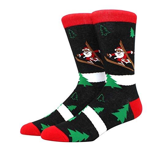 Algodón Happy Men Calcetines Nuevo Otoño Invierno Navidad Mujer Calcetines Divertido Año Nuevo Santa Claus-a37