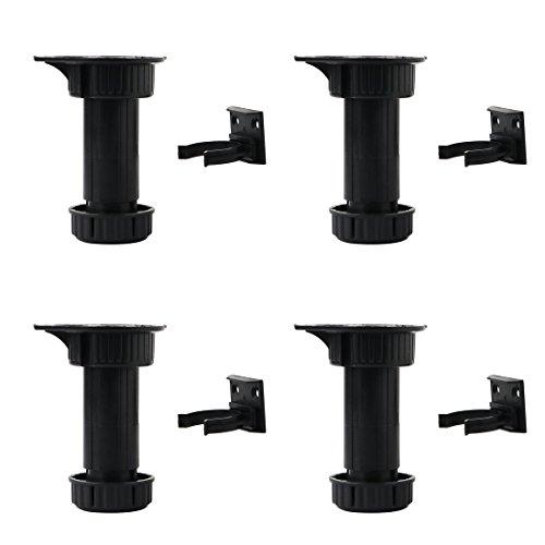 sourcing map 4pcs Verstellbare Möbelfüße Stellfüße PP Verstellbarer Küchenschrank Füße Höhe (Gesamt: 100-145mm) x 43mm Dm