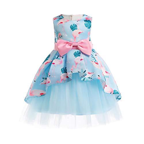 SXSHUN Mädchen Kleiderrock Mit Unregelmäßiger Rockdruck Und Schleife Abendkleid/Festlich, Flamingo, 116(Etikettengröße: 120)