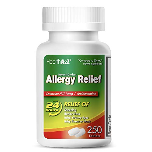 HealthA2Z Allergy Relief, All Day Allergy, Cetirizine HCL 10mg, 250 Tablets, Compare to Zyrtec®...