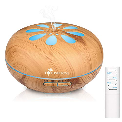Diffuserlove 550ML Essential Oil Diffuser Humidifiers Wood Grain Cool Mist Humidifiers Ultrasonic Remote Control Aroma Diffusers for Home Bedroom Yoga Office Spa