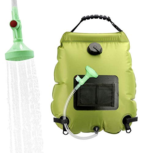 ASANMU - Bolsa de ducha solar para camping, 20 l, portátil, plegable, exterior para ducha, temperatura 45 °C, con cabezal de ducha, calentador de agua solar para senderismo, escalada, verde hierba
