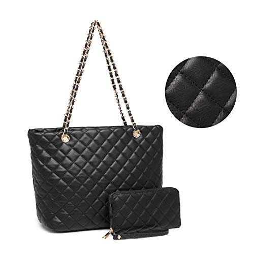 Tote and Matching Wallet Set: made of diamond quilted faux PU leather filling with comfort foam, its durability and abrasion resistance enable Italian designers to give women a high-level texture While pursuing fashion sense.luxurious gold chain shou...