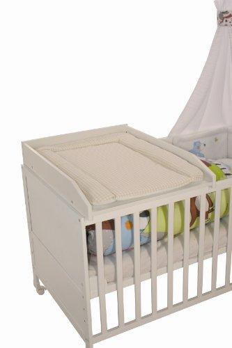 roba Wickelplatte inkl. Wickelauflage 'Sterne grau', Universal Wickelunterlage zum Aufsetzen auf alle Baby- & Kinderbetten, Wickelaufsatz weiß