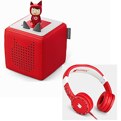 Boxine Toniebox Starterset Rot mit Kreativtonie + Kinderkopfhörer Tonie-Lauscher