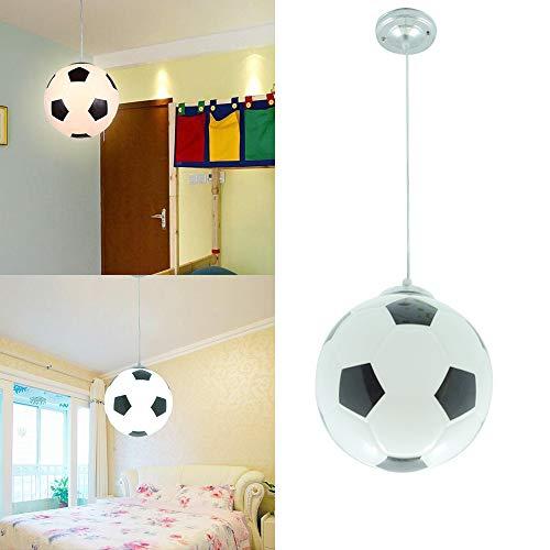 Wankd - Lámpara de techo para habitación infantil, diseño de balón de fútbol creativo, moderna, LED, protección para los ojos, E27, para salón, dormitorio, guardería, Negro, 20 * 20 * 20cm