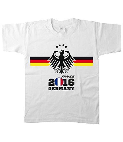 Artdiktat Kinder Deutschland Fan T-Shirt - Kids - EM 2016 Frankreich - Trikot Ersatz - inkl. Wunschname und Nummer Größe 152/164, weiß