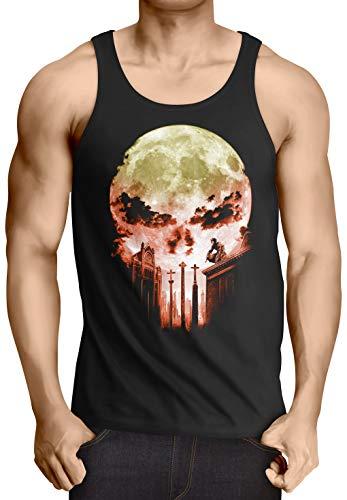 A.N.T. Vengador Ciego Camiseta de Tirantes para Hombre Tank Top T-Shirt Dare Diablo Comic Luna Llena Calavera, Talla:S