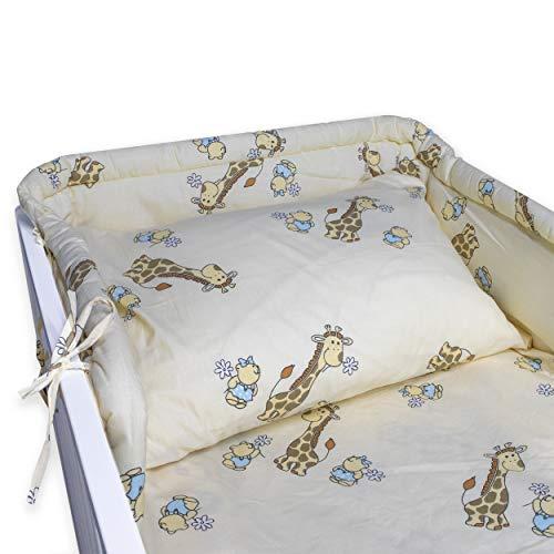 BlueberryShop juego de ropa de cama de algodón, funda de edredón 90 x 120 cm, fundas de almohadas 40 x 60 cm, protector de la camita 35 x 150 cm, Para niños de 0-3 años, Crema Jirafa