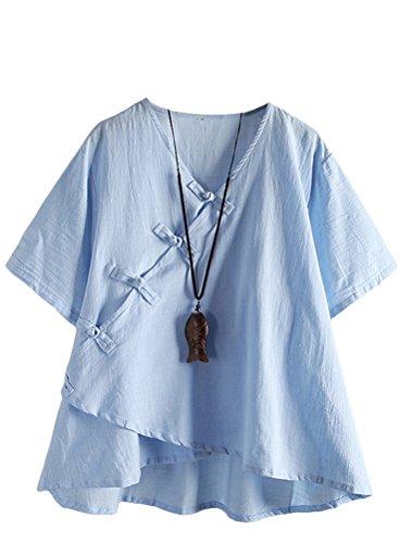 MatchLife Damen Leinen Tops Klassisches Vintage T-Shirt Chinesisch V-Ausschnitt Tunika Bluse Blau Fits EU 38-46