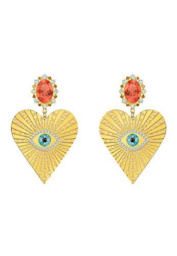 Swarovski 5464131 Orecchini a Clip Lucky Goddess Heart, Multicolore, Placcatura Oro