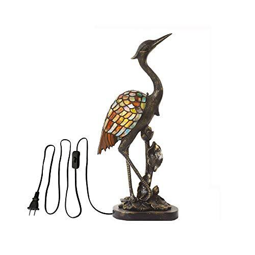WTTWW Tiffany Stil Dekoration Tischlampe, Harz Basis Vintage Wohnzimmer Nachtlicht Schlafzimmer Nachttischlampe Handgemacht Glas Lampenschirm Tischleuchte(H 23.2 Zoll, B 9.8 Zoll) E14×1,B