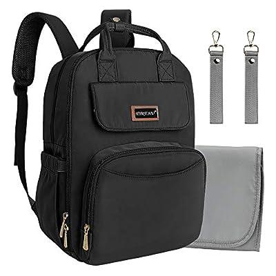 Diaper Bag Backpack Black Travel Nursing Nappy ...