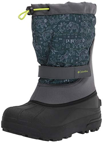 Columbia Boy's Powderbug Plus II Print Snow Boot, Graphite/Acid Green, 6 Big Kid