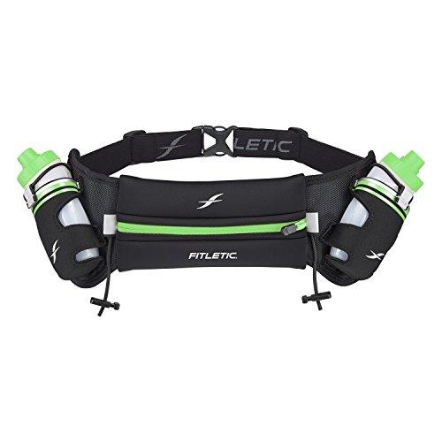 Fitletic Hydra 16 Running Hydration Belt – Large/Extra Large, Black & Green | Patented No Bounce Tech for Marathon, Triathlon, Ironman, Trail, 5K, 10K | Race Belt | Water Bottle Belt | HD08-C6L