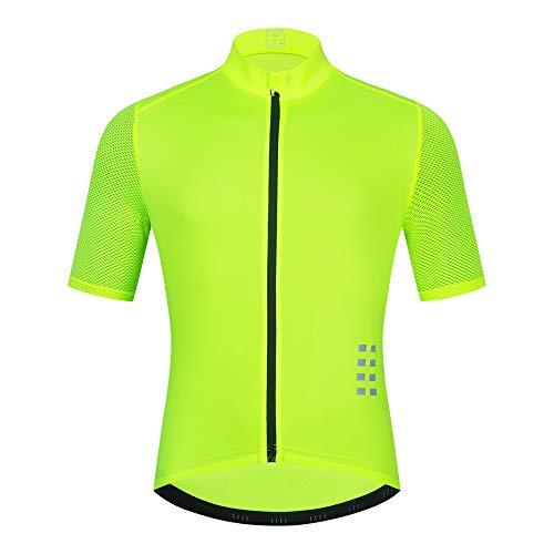 WOSAWE Maillots de ciclismo para hombre, transpirable, manga corta, secado rápido, color verde XXL