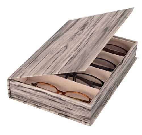 FLEUR ROYALE Mehrbrillenetui Brillenetui Holzoptik Wood Forest für 4 Brillen Brillen-Aufbewahrungskiste 240x167x47mm (grau) robust & edel