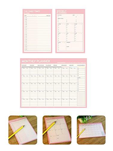 Chris-Wang - Organizador semanal de planificador mensual, planificador diario con objetivos – fácil de desgarrar hojas – Chores, tareas y citas – Pack de 3, Rosado, Packet of 3